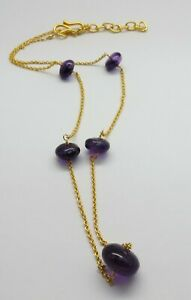 Natural Gemstone Amethyst Beaded Necklace 22K Gold Chain Necklace 17 Inch Long