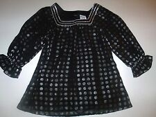 Disney Sheer Black Silver Polka Dot Babydoll Tunic Top 3/4 Sleeves 6 6X Lot G7