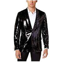 MSRP $150 INC Men's Slim-Fit Reversible Sequined Blazer Black Silver Size Medium