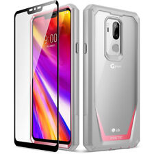 LG G7 Rugged Clear Case Cover [w/Free Tempered Glass Screen Protector] Pink