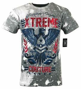 XTREME COUTURE by AFFLICTION Men's T-Shirt AMERICAN ORIGINAL Biker Gray S-5XL