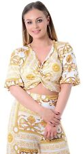 New Ladies Gold Chain Print Camo Bell Sleeve Wrap Knot Crop Top 8-14