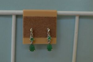 0.85ct Socoto Emerald Drop Earrings Platinum over Sterling Silver