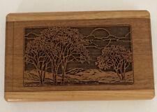 Vintage Hand Carved Business Card Holder Case Wooden Box Pocket