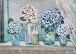 Hydrangea Flowers in Bottles Canvas Print Wall Art Hand Painting Gift 50x70cm