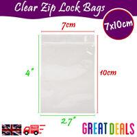 7 x 10cm Grip Seal Zip Lock Self Press Resealable Clear Plastic Bags 1 - 100,000