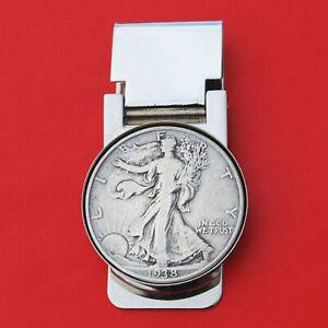 US 1916 ~ 1947 Walking Liberty Half Dollar 90% Silver Coin Hinged Money Clip NEW