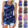 Womens Summer Camo Blouse Tee Vest Cami Casual Sweatshirt Loose Ladies Tank Tops
