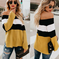 Women Jumper Off Shoulder Side Split Patchwork Tops Striped Knit Casual Sweater