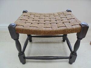 Vintage rattan stool, woven seat, 1950's raffia footstool, rectangular raffia