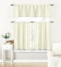 3 Pc Window Set: Semi Sheer, Plaid Check Design 1 Valance 2 Tiers (Off-White)