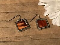 Recycled Broken Porcelain Jewelry, Brown Marble Earrings