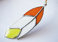 Handmade Stained Glass Bird Feather Suncatcher - Orange White & Yellow Glass