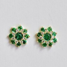 NATURAL EMERALD EARRINGS TOP COLOUR GENUINE DIAMONDS 9K 375 GOLD STUDS NEW