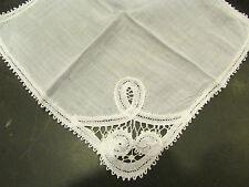 ancienne pochette mouchoir broderie ajourée fil