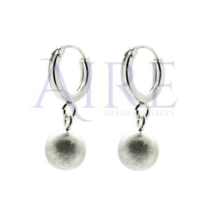 Genuine Sterling Silver Hoop and Ball Dangly Drop Earrings