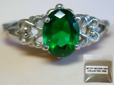 Emerald Green Helenite 925 Sterling Silver Ring Size 7 USA 1980 Volcanic Ash