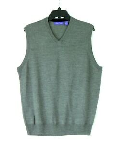 NWOT Alan Flusser 50% Merino Wool V-Neck Gray Vest Sweater Large NEW