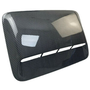 Car Air Flow Intake Vent Bonnet Hood Scoop Cover Glossy Black Carbon Fiber Look
