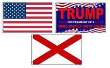 3x5 Trump 2016 & Usa American & State of Alabama Wholesale Set Flag 3'x5'