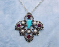 SARAH COVENTRY Faux Turquoise Pearl Purple Rhinestone Brooch Pendant Necklace V3