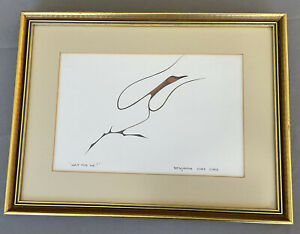 """Framed """"Wait For Me """" Artwork Canadian Woodland Indian Benjamin Chee Chee #9578"""