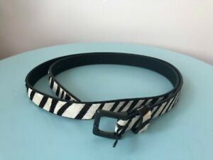Jigsaw Black & White Zebra Print Thin Belt Size Large