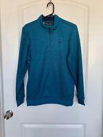 New Under Armour Storm Mens Blue Fleece 1/4 Zip Herringbone Sweater Shirt, Small
