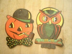 Set of 2 Vintage Beistle Die Cut Halloween Paper Decoration Jack O' Lantern Owl