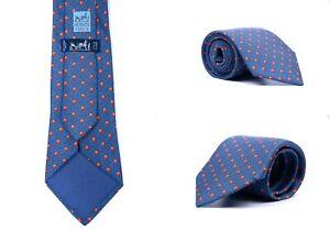 Men's Hermes Blue Daisy Chained Polk Dot Print 946 IA Silk Twill TIE Necktie