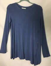 Reborn J  Knit top Tunic M Blue Asymetric Hem Long Sleeve Buttons