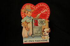 Vintage Cowboy, Pistol, Safe & Pup Valentine Card 1950S Unsigned A-meri Card