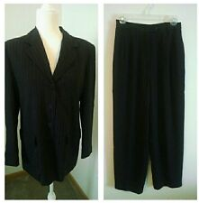 TALBOTS Black Pinstripe Pant Suit Women's Petite Sz 8 Lined Career Business Work