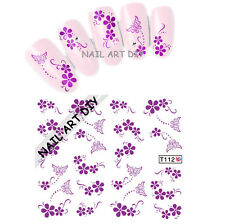 20 nail art stickers-decals water transfer-adesivi Farfalle e Fiori viola !!
