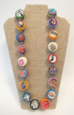 """RARE VINTAGE 1960s MOD ICONIC ART LUCITE BEAD ABSTRACT PICTURE NECKLACE 28 3/4"""""""