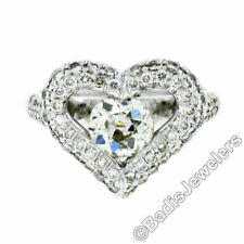 Anillos de joyería con diamantes en oro blanco de compromiso corazón