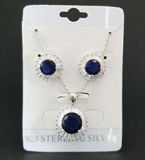925 Sterling Silver Blue Sapphire Pendant Necklace Stud Earrings Set