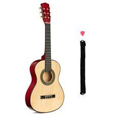 """1/2 Size Beginner Acoustic Guitar Kids 6 String Adjustable Strap Plectrum 34"""""""