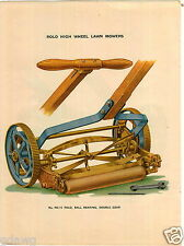 1921 PAPER AD 2 Sided COLOR Keen Kutter Rolo Reel Lawn Mower Poster Like