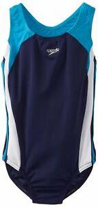 Speedo Girls Swimwear Blue Size 14 Colorblock Infinity Splice Swimsuit $44 390