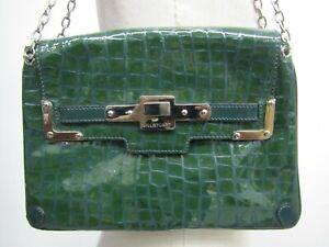 Jill Stuart Valerie Patent Green Leather Croc Chained Shoulder Bag