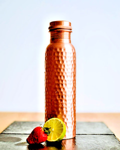 950ml Matte Hammered Pure Copper Water Bottle with Ayurvedic Health Benefits