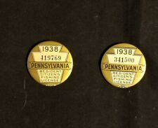 Two [2] 1938 PA. PENNSYLVANIA FISHING LICENSE  PINBACK