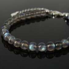 Men's Bracelet 5A Rare Flashing Labradorite 925 Sterling Silver Clasp Link 1303M