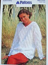 Patons 5255 - Ladies Cotton DK V-neck Sweater Crochet Pattern