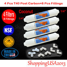 """4 PC Omnipure T40 1/4"""" Post Inline Coconut Carbon Filter 10X2"""" RO+8 Fittings"""