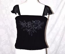 HOUSE of FRASER CC Size 14 Silk Vest Top Beads Sequins Hand Embroidered Lined