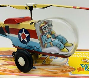 """SCHYLLING TIN TOY WHIRLYBIRD COLLECTOR SERIES FRICTION HELICOPTER W/BOX VTG 10"""""""