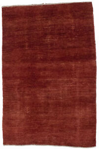 Solid Color Hand Knotted Tribal Modern 3X5 Gabbeh Area Rug Oriental Wool Carpet