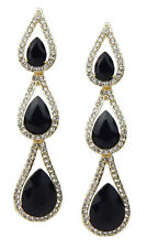 Gold Rhinestone Glitter Party Studs Ella Jonte Statement Earrings Black